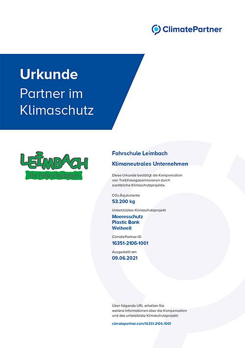 Fahrschule Leimbach – > ein Klimaneutrales Unternehmen